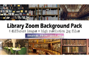 Print on Demand: Library Zoom Background Pack, 6 Photos Graphic Photos By DigitalPrintableMe