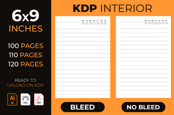 Lined Journal - Kdp Interior Graphic KDP Interiors By medelwardi