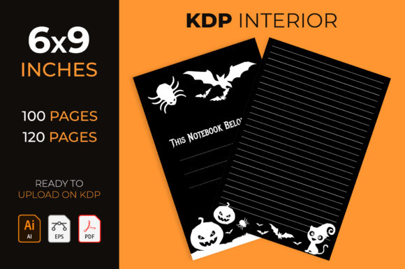 Lined Journal with Halloween Decorations Graphic KDP Interiors By medelwardi