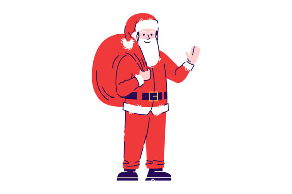 Print on Demand: Man Wearing Santa Claus Costume Graphic Illustrations By bsd studio