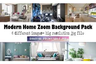 Print on Demand: Modern Home, Zoom Background Pack, 6 Pic Graphic Photos By DigitalPrintableMe