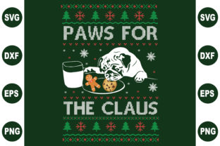 Print on Demand: Paws for the Claus Ugly Sweater Graphic Crafts By BDB_Graphics