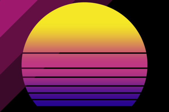 Print on Demand: Retro Synthwave Sunset Background Graphic Backgrounds By atlasart
