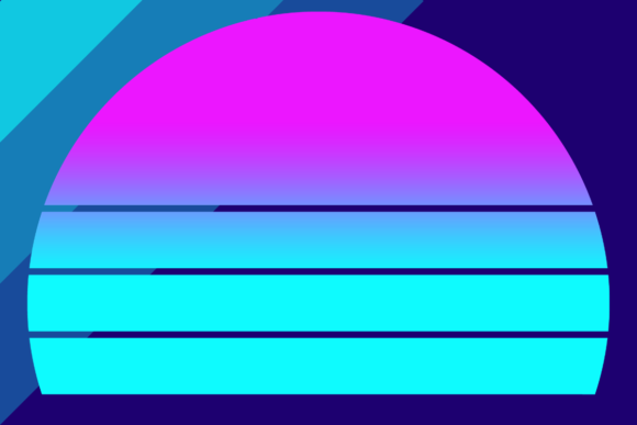Print on Demand: Retrowave Neon Sunset Background Graphic Backgrounds By atlasart