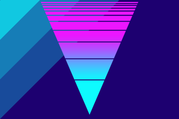 Print on Demand: Retrowave Neon Triangle Sunset Graphic Backgrounds By atlasart