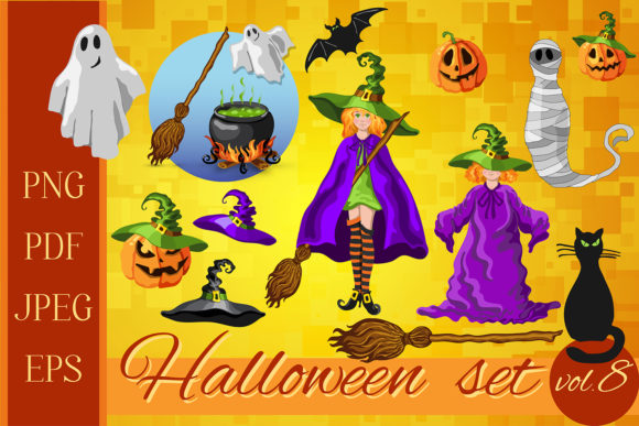 Print on Demand: Set of Halloween Characters Graphic Illustrations By TasiPas