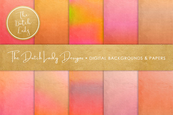 Print on Demand: Shiny Gradient Textures Orange Pink Graphic Backgrounds By daphnepopuliers