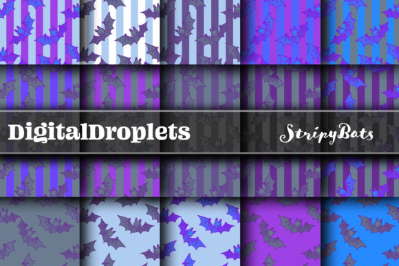 Striped Bats | HALLOWEEN Papers Graphic Backgrounds By digitaldroplets
