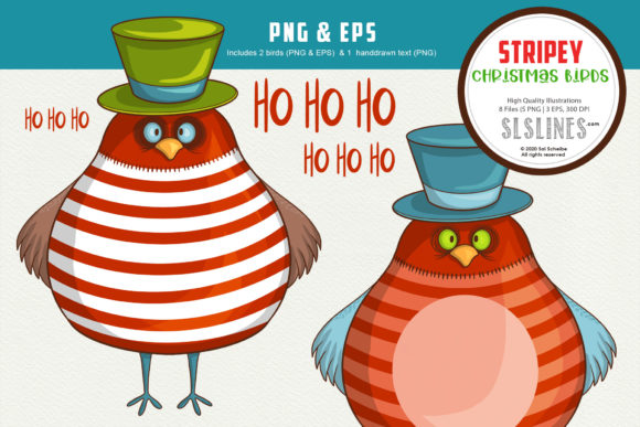 Print on Demand: Stripey Christmas Winter Bird PNG & EPS Graphic Illustrations By SLS Lines