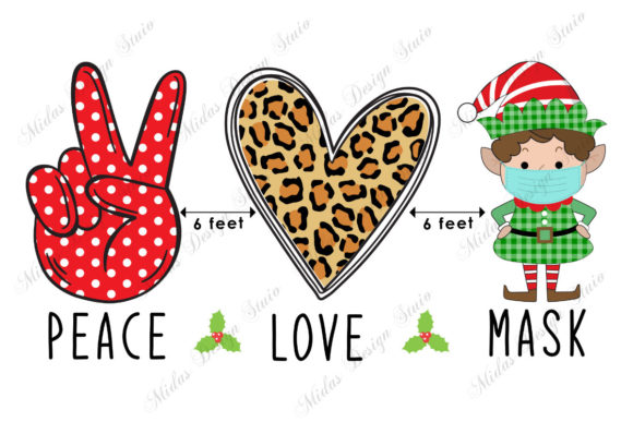 Sublimation - Peace Love Face Mask Graphic Crafts By MidasStudio