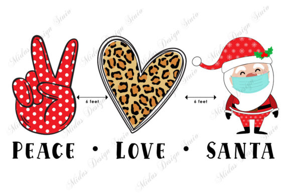 Sublimation - Peace Love Santa Graphic Crafts By MidasStudio