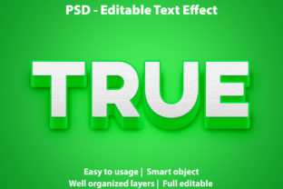 Print on Demand: Text Effect Green True Premium Graphic Graphic Templates By yosiduck