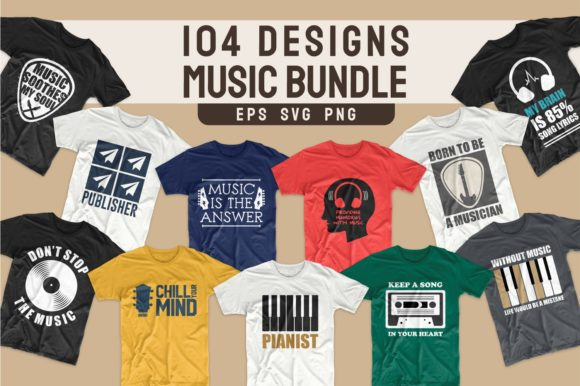Print on Demand: T-shirt Designs Bundle Music Slogans Graphic Print Templates By Universtock