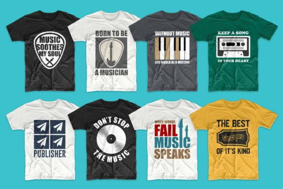 T-shirt Designs Bundle Music Slogans Graphic Download