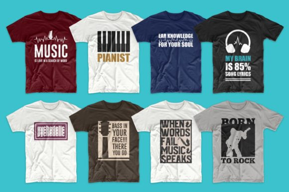T-shirt Designs Bundle Music Slogans Graphic Design