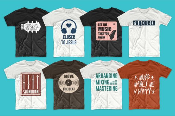 T-shirt Designs Bundle Music Slogans Graphic Preview