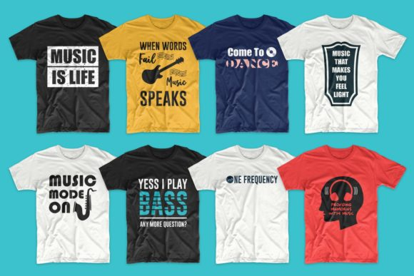T-shirt Designs Bundle Music Slogans Graphic Image