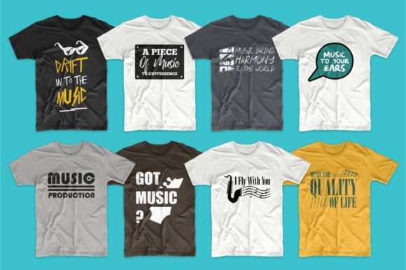 T-shirt Designs Bundle Music Slogans Graphic Popular Design