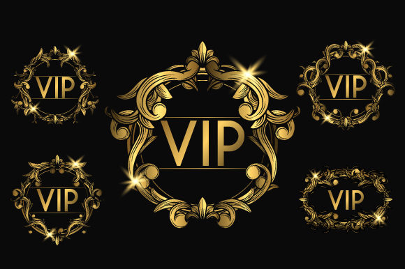 VIP Golden Badges Graphic Objects By Bewalrus