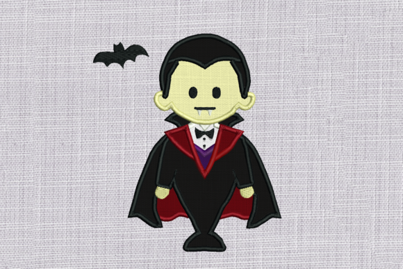 Vampire with Bat Applique Halloween Embroidery Design By DesignedByGeeks