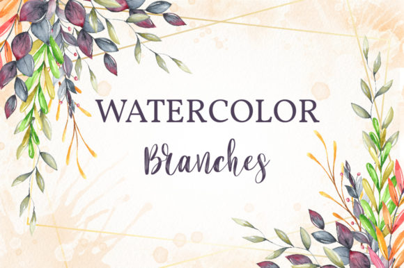 Watercolor Branches and Leaves Graphic Illustrations By Adinanart