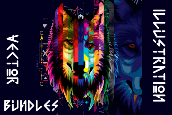 Print on Demand: Wolf Vector  Bundles Graphic Illustrations By AP
