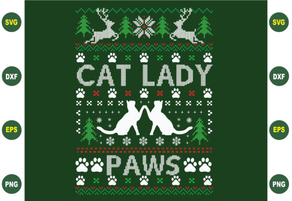 Cat Lady Paw Ugly Christmas Svg Graphic Crafts By BDB_Graphics