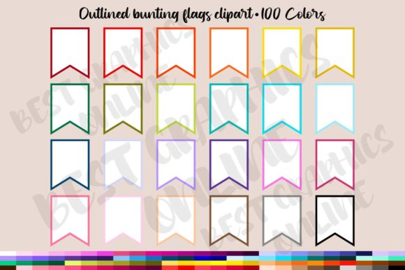 100 Outlined Bunting Flags Clipart Graphic Illustrations By bestgraphicsonline