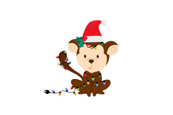 Christmas Monkey Weihnachten Plotterdatei von Creative Fabrica Crafts