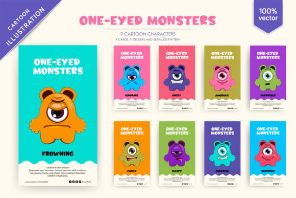 9 Funny One-eyed Monsters Graphic Illustrations By andreykeno2020