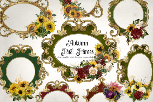 Print on Demand: Autumn Floral Frames Clipart Graphic Illustrations By Digital Curio
