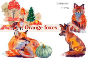 Print on Demand: Autumn Watercolor Fox Animals Clipart Graphic Illustrations By ElenaZlataArt
