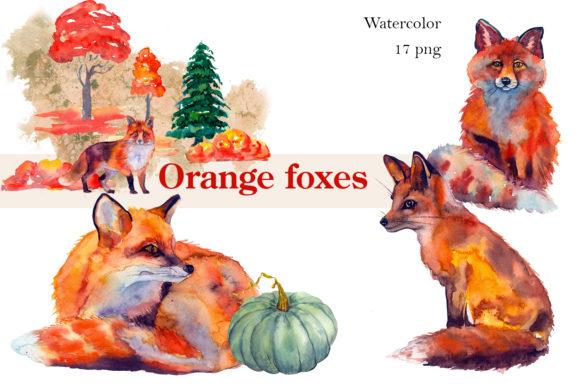 Autumn Watercolor Fox Animals Clipart Graphic Illustrations By ElenaZlataArt