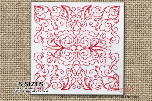 Baroque Design Pattern Paisley Embroidery Design By Redwork101