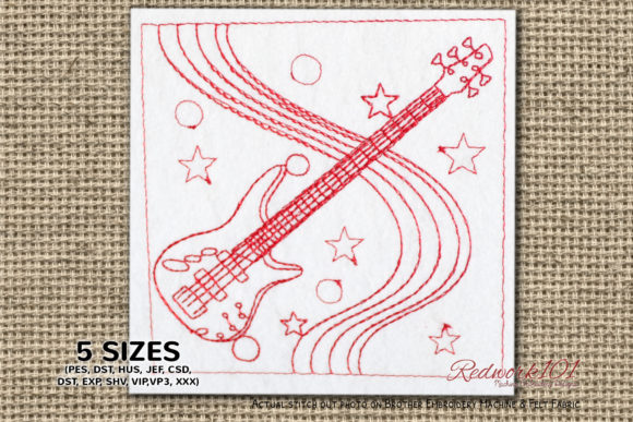 Bass Guitar Redwork Music Embroidery Design By Redwork101