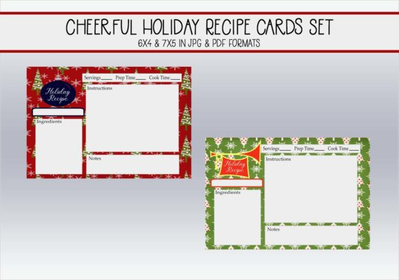 Print on Demand: Bright Holiday Recipe Cards Graphic Print Templates By CapeAirForce
