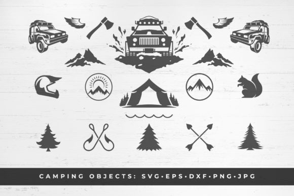 Camping and Mountains off-road Vector Graphic Illustrations By vasyako1984