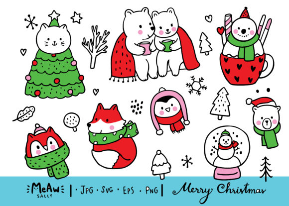 Cartoon Cute Sweet Animal Winter Graphic Illustrations By Meawsally