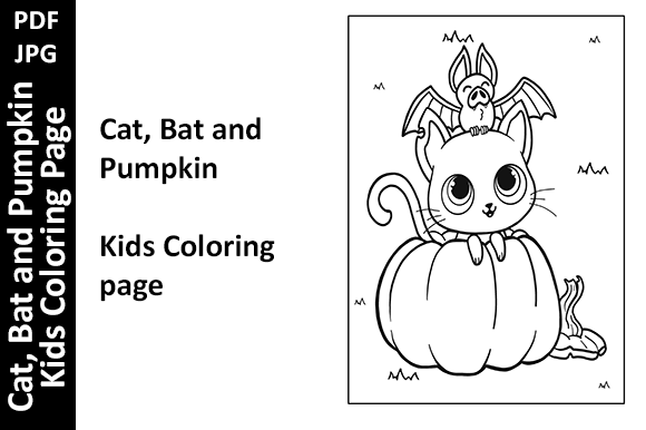 Cat, Bat and Pumpkin Kids Coloring Page Graphic Coloring Pages & Books Kids By Oxyp