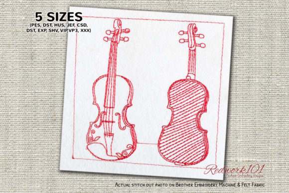 Cecilio Violin Bluework Music Embroidery Design By Redwork101