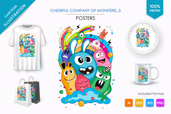 Cheerful Company of Monsters_3 Graphic Illustrations By Keno Shop