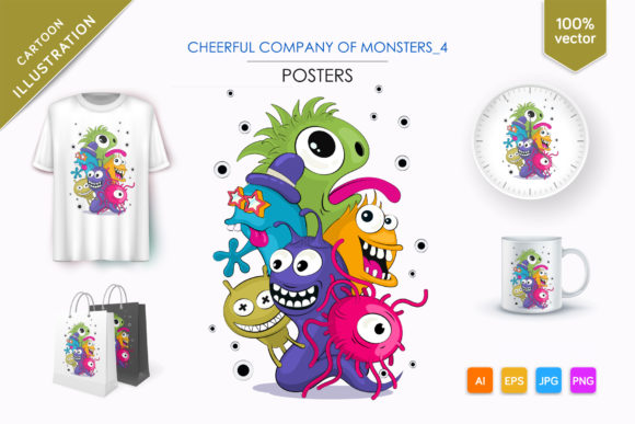 Cheerful Company of Monsters_4 Graphic Illustrations By andreykeno2020