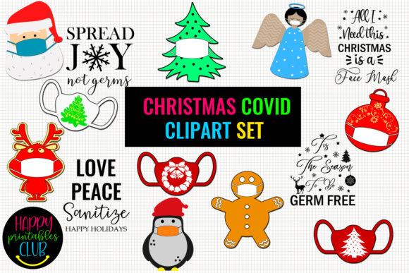 Christmas COVID Clipart Set- Christmas Graphic Illustrations By Happy Printables Club