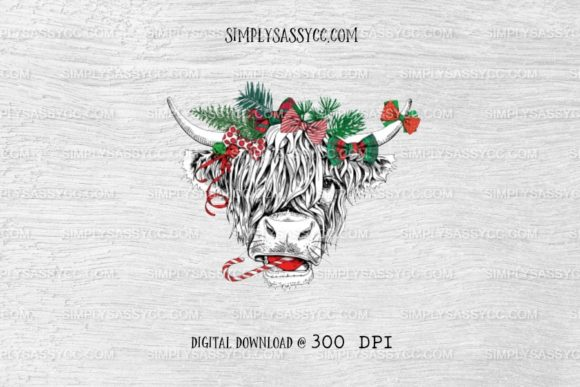 Christmas Cow, Candy Canes, Pine Graphic Illustrations By Simply Sassy CC