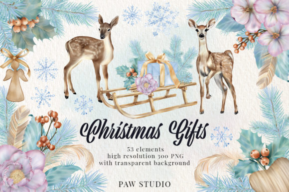 Print on Demand: Christmas Gift Boxes Deer Flowers Clipar Gráfico Ilustraciones Por PawStudio
