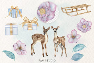 Print on Demand: Christmas Gift Boxes Deer Flowers Clipar Graphic Illustrations By PawStudio 2