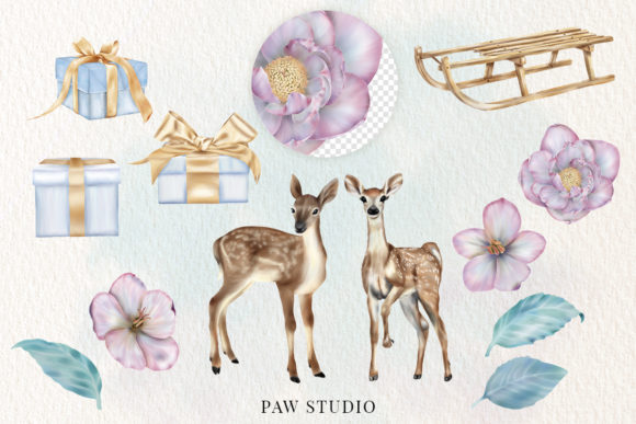 Christmas Gift Boxes Deer Flowers Clipar Graphic Download