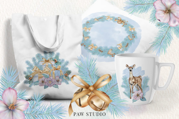 Christmas Gift Boxes Deer Flowers Clipar Graphic Image