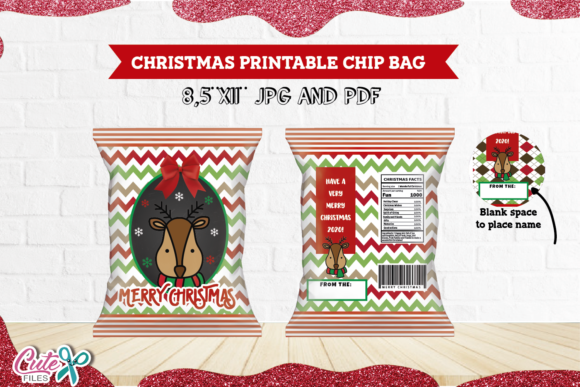 Christmas Reindeer Chip Bag Printable Graphic Print Templates By Cute files