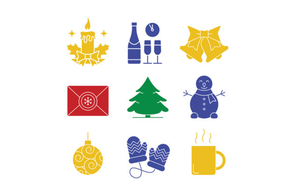 Print on Demand: Christmas Icons Set Graphic Icons By bsd studio